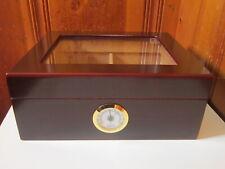 Cigar Humidor Humidifier Hygrometer Quality Importers Cedar Wood Box Glass Top