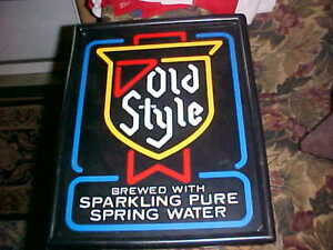 """""""Old Style"""" Beer Ale Sign Plastic Bar Wall -Lights Up"""