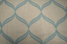 Cornell Teal Blue Cream Embroidered Ogee Tissus Fabric