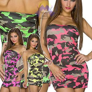 Vestito DONNA Corto SEXY Militare MIMETICO Scollato ADERENTE Elegante HOT 22096