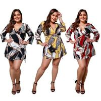 Plus Size Elegant Dress Women Vintage Leopard Chain Print Mini Dress High WE1O4