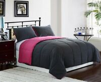 2PC Reversible Down Alternative Comforter Set Twin Size, Pink/Grey Bedding Cover