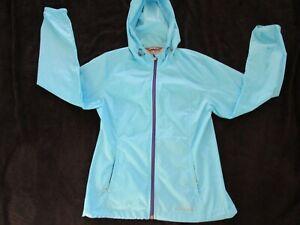 Women's EDDIE BAUER Jacket NWOT Hooded Turquoise Nylon Full Zip Pockets  Size XS
