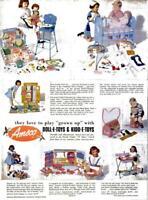 1953 Amsco Toys PRINT AD Dolls Nurse housekeeper Shoe Shine Dishes Shopper Toys