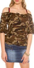 Camicia Donna Blusa Camouflage CMP55 Top Stile Militare SA474 Tg Unica S/M