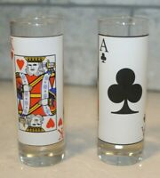 Set of 2 Tall Poker Playing Card themed Shot Glasses King of Hearts Ace of Clubs