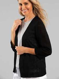Black Pepper Womens Tori 3/4 Sleeve Cardigan Knit Black M
