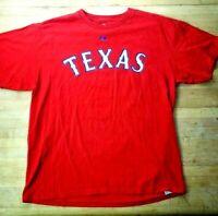 Majestic Mens Sz Large Red Texas Rangers Josh Hamilton 32, MLB, Baseball T-Shirt