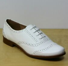 M&S Ladies LACE-UP Low Heel BROGUE SHOES ~ Size 7 ~ WHITE Faux Leather