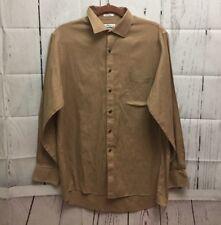 Van Heusen Mens Dress Shirt Brown Pin Cord Long Sleeve Wrinkle Free 16 34/35