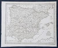 1790 Aaron Arrowsmith Original Antique Map of Spain, Portugal & Balearic Islands
