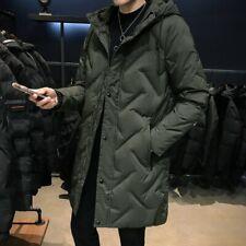 Winter Men's Puffer Outwear Duck Down Jacket Overcoat Plain Mid Length Thick New