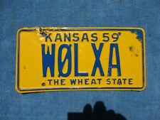 ORIGINAL HAM AMATURE RADIO 1959 KANSAS LICENSE TAG WOLXA  PLATE WALL HANGER