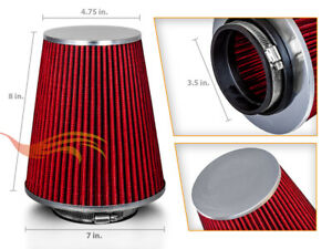 """RED 3.5"""" Inches Inlet Cold Air Intake Cone Dry Type TRUCK FILTER For Cadillac"""