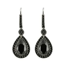 Rhodium o/ Sterling Silver 4.3ctw Black Spinel Pear Shaped Dangle
