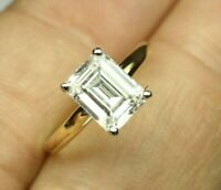 2.49Ct Emerald cut Solitaire Diamond Engagement Ring Solid 14K Yellow Gold