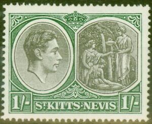 St Kitts & Nevis 1938 1s Black & Green SG75 Fine Very Lightly Mtd Mint