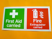 FIRST AID CARRIED FIRE EXTINGUISHER CARRIED Car Van Stickers Decals 2 off 75mm