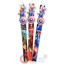 Marvel Avengers Ball Point Pen 3pc Set Black Ink Refillable-Captain Ironman Hulk