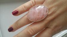 anillo con baño oro y cuarzo rosa grande кольцо autentica joya Ring bague nuevo
