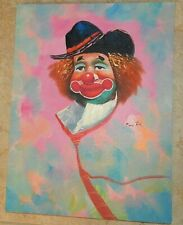 Original Goeth Painting Circus Clown with black hat Oil on Canvas Signed