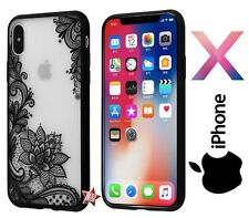 COVER L' ORIGINALE CUSTODIA RIGIDA FIORE PIZZO RICAMO LOTO per APPLE IPHONE 10 X