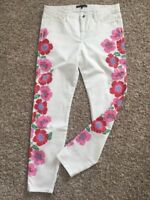 Theory White Jeans Floral Multicolor Side Seam Ankle Zip Skinny Pants Jeans Sz 8