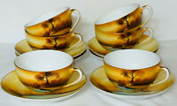 6 Noritake* TREE IN THE MEADOW* CUPS & SAUCERS *RED MARK*