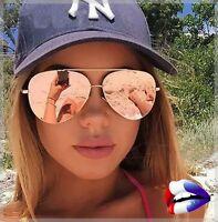Lunette de soleil sunglasses femme top été or rose bleu miroir aviator aviateur
