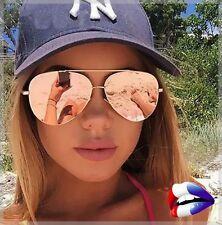 Lunette de soleil sunglasses femme top été or rose miroir aviator aviateur