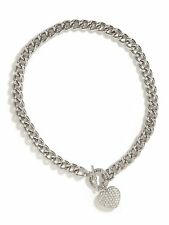 NWT Guess Silver Metal-Clear Pave Heart Charm Stamped Logo Toggle Necklace