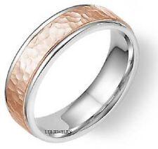 HAMMERED FINISH TWO TONE GOLD WEDDING RINGS,14K WHITE& ROSE GOLD WEDDING BANDS