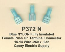 25 Blue NYLON Insulated FEMALE Push On QD Terminal Connectors #16-14 Wire Gauge