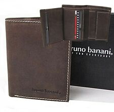 Bruno Banani Monedero Hombres minicartera Monedero de piel marrón NUEVO W320/106