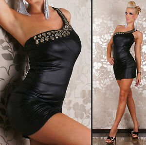 Womens Sexy Leather Look Embellished One Shoulder Party Mini Dress size 6-10