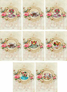 Vintage inspired Tea cup roses large note cards set 6