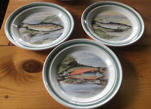 3 Portmeirion Compleat Angler British Fishes Dinner Plates.