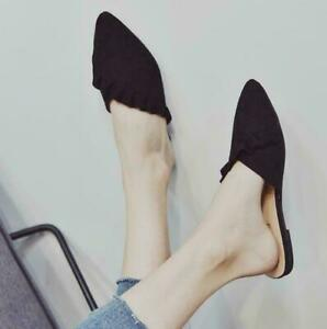 Women's Fashion Lace Casual Pointed Toe Flip-Flops Korean Large Size Muller Flat