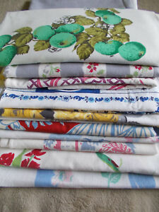 10 Vintage Cotton Tablecloths-Floral-Mexican-Holland-Roses-Tulips-Dogwood