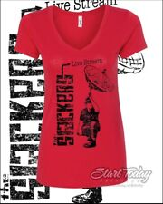 The SLACKERS Ltd Ed AUG 1 LIVESTREAM at ERNESTOS LADIES vneck T  L + 2XL RED