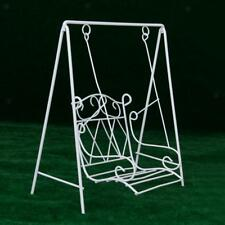 Mini Metal Swing Rocking Bench Chair 1/12 Dollhouse Garden Yard Furniture White
