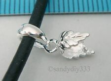 1x BRIGHT STERLING SILVER LEAF PINCH IN PENDANT BAIL CLASP SLIDE #1788