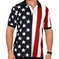 Men's USA Performance Golf American Flag Shirt with Half Stars Half Stripes