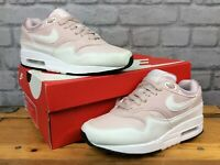 NIKE AIR MAX 1 LADIES UK 3 EU 36 BARELY ROSE WHITE MESH SUEDE TRAINERS RRP£100 L