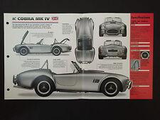 1985 AC COBRA MK IV IMP Hot Cars Spec Sheet Folder Brochure RARE