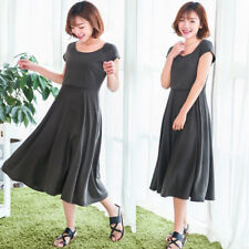 Nursing Breastfeeding Dress Big Swing Maternity Calf Length Slim Cute M/L/XL/2XL
