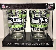 Seattle Seahawks Pint Gift Set - (2 pk) 16oz each - Glass Pints - FREE SHIPPING