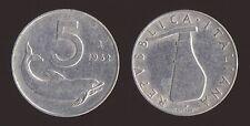 5 LIRE 1952 DELFINO E TIMONE - ITALIA