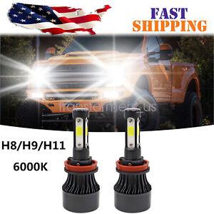 H11 LED Headlight 6000K 2018 2240W 336000LM 4-Side Kit Low Beam Bulbs High Power