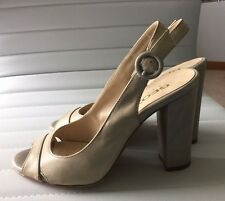 Geox Respira Light Grey/Pewter Leather Open Toe Heels EU 39 US 8.5 Italy